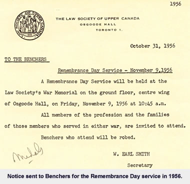 1956 Remembrance Day Service Notice