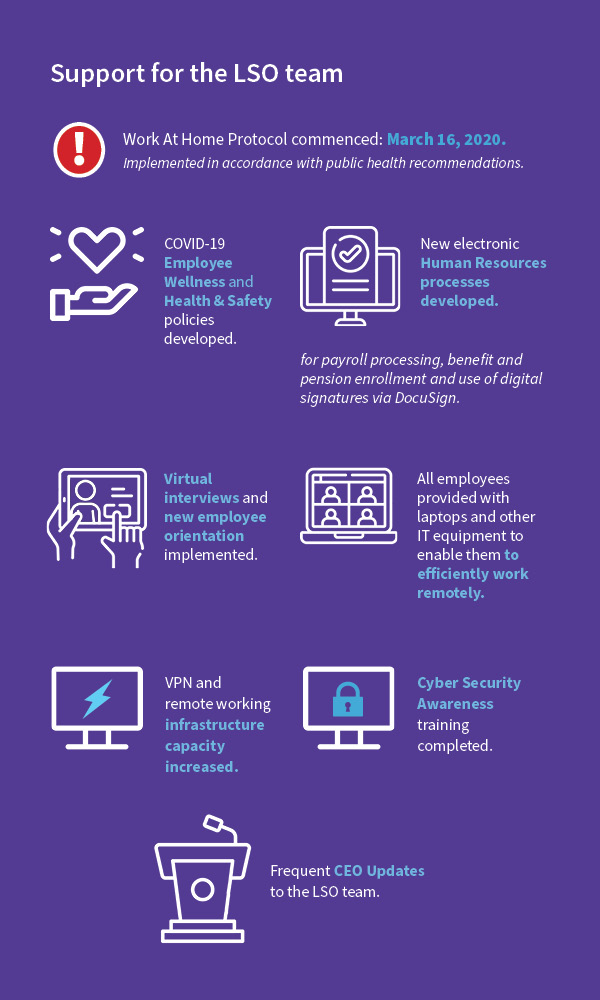 Infographic of Support for the LSO team stats for 2020 Annual Report.