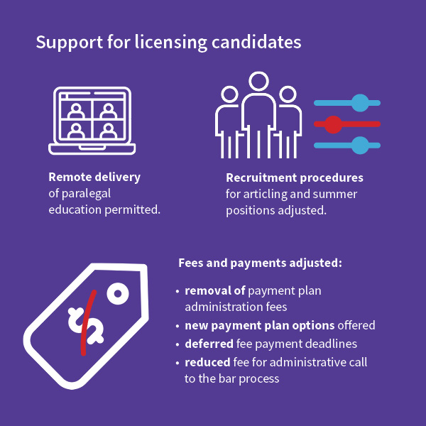 Infographic of Support for Licensing Candidates stats for 2020 Annual Report.