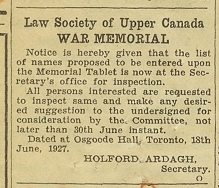 Newspaper clipping requesting names for the Memorial, LSO Archives