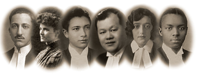 Early and Diverse Lawyers (L to R): Murray Keyfetz, Grace Hewson, Norman Lickers, K.D. Yip, Lily Sherizen, James Watson