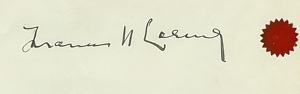 Signature of Frances Loring on the commission contract, LSO Archives