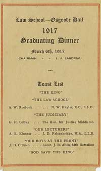 Menu of the 1917 graduation dinner, LSUC