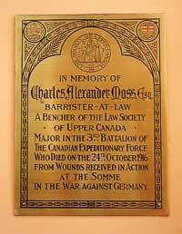 Memorial tablet for Charles Alexander Moss, LSO