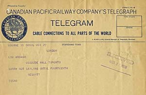 Telegram from Treasurer Nesbitt about his inability to attend the unveiling, LSO Archives