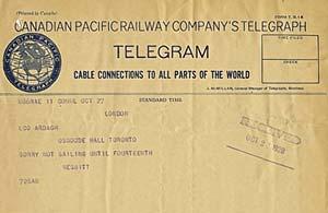 Télégramme du trésorier Nesbitt annonçant qu'il ne peut assister au dévoilement du cénotaphe, Archives du BDLO