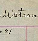 Vignette - Carte-matricule du lieutenant Charles H. Watson